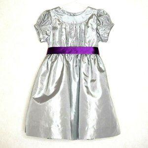 Strasburg Girl's Silver Satin Party Dress